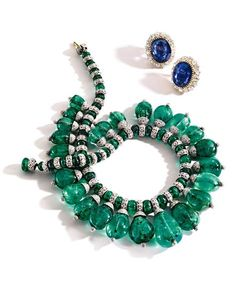 Diamonds are foreverThe Sotheby's Magnificent Jewels auction will include a pair of earclips set with oval sapphires framed by old mine diamonds weighing approximately 10.75 carats; they are estimated to be worth $100,000 to $150,000. Also on the block: A necklace composed of emerald beads accented by round diamonds weighing approximately 43 carats. It is estimated to bring $150,000 to $200,000.