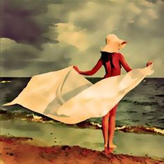 "Saatchi Art Artist ACQUA LUNA; Painting, ""1-Mujer en la playa."" #art"