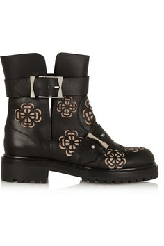 Alexander McQueen|Laser-cut leather ankle boots|NET-A-PORTER.COM