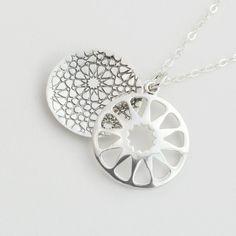 Geometric panel pendant - silver