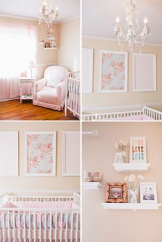 Okay, I realize this is a nursery, but I am loving the light colors, chandelier, cozy fabrics... Also, I might go this route for RJ or another girl if we move someday. Cute!!   Canary Grey Photography