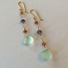 """14K gold filled artisan gemstone dangle earrings Gorgeous natural stones, 14k gold filled metal. Hand linked for nice movement. Spring colors! Measures 2.5"""" long. Michelle V. Gems Jewelry Earrings"""