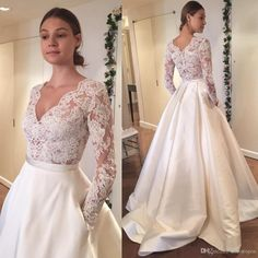 2017 Modest Long Sleeves Country Wedding Dresses With Pockets Lace V Neck Sweep Train A Line Custom Made Cheap Bridal Gowns A Line Wedding Dresses With Straps Ball Wedding Dresses From One Stopos, $126.64| Dhgate.Com