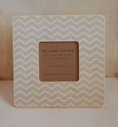 Ivory Chevron Wood Picture Frame by TwoHandsDesigns on Etsy, $16.00