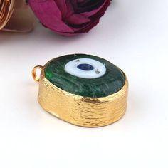 Large, Handmade Glass Turkish Evil Eye Pendant with closed bezel setting, Evil Eye, Green, 1 piece /