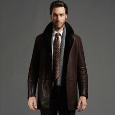 Men's Double Breasted Turkey Sheepskin Leather Coat with Tailored ...