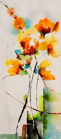 La danseuse au soleil levant - Peinture, 40x17 cm ©2014 par Véronique Piaser-Moyen - Peinture contemporaine, Papier, Fleur, aquarelle, fleurs, fleur, bouquet, piaser, piaser-moyen, veronique piaser-moyen