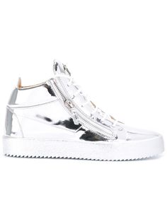 Giuseppe Zanotti Design baskets montantes à détails de zips. Kriss silver metallic leather high-top sneakers. 26 May 2016 on sale on Farfetch was $830, now $332 sizes IT: 39,39.5,40,41,41.5,42,42.5, 43,43.5,44,45.