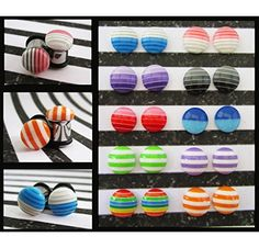 Stripes on a stainless steel black red purple blue EAR PLUGS earrings pick gauge size and color 12g, 8g, 6g, 4g, 2g aka 3, 4, 5, 6, 6mm -- Awesome products selected by Anna Churchill