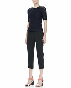 Basha+Short-Sleeve+Top+and+Cropped+Cuffed+Pants+by+Rag+&+Bone+at+Neiman+Marcus.
