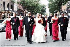 red and white bridal party | wedding at hotel bethlehem Stunning Red & Black Wedding from Riverview ...