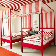 Nautical red stripes in a guest room ~and great whimsical beach house decor