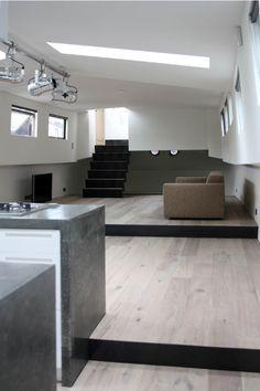 Minimalist interior on houseboat
