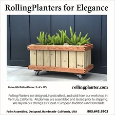 "M24 ( 2 x 4' x 25"") COMMERCIAL QUALITY ""ROLLING PLANTER."" Grow almost everything in this planter, best for plants that need deep roots, including trees. Fully assembled. Made from sustainably grown cedar/fir, case hardened and marine epoxy/ glass coated steel screws/ bolts, triply liner and plumbed drains. Designed, handmade and shipped from Ventura, California, USA 805.643.5902 www.rollingplanter.com"