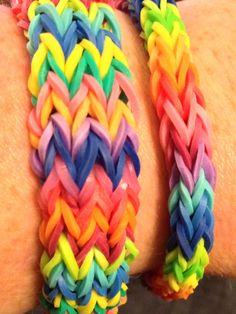 Flat chevron and double fishtail rainbow loom bracelets.