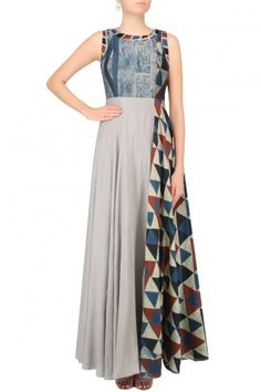 Anushree presents Grey and blue shaded triangular blocks printed maxi dress available only at Pernia's Pop Up Shop. Kurta Designs, Blouse Designs, Indian Dresses, Indian Outfits, Salwar Kameez, India Fashion, Indian Designer Wear, Indian Wear, Cotton Dresses