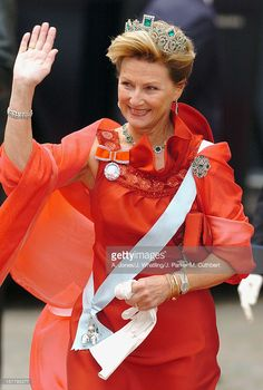 Queen Sonja Of Norway Attends The Wedding Of Crown Prince Frederik & Mary Donaldson At The Vor Frue Kirke Catherdal In Copenhagen, 2004.