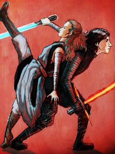 I love how in the movie, Rey put her hand on Kylo's hip to show him that she trusted him