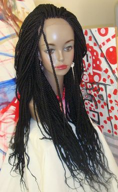 I can do this myself: fix a net onto a thin/thick wig cap and crochet the plaits in. Use lace in the front, attach thread to it like hair strands and braid on them. Lace Front Wigs, Lace Wigs, Braids Wig, Box Braids, Braid Hair, Afro, Curly Hair Styles, Natural Hair Styles, Braids With Weave