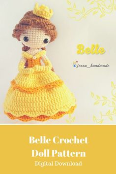 What a beautiful Disney Belle inspired Crochet Doll. The pattern to make it is a digital download so that makes it easy. I know a little girl who would love this doll! #belle #amigurumitoy #amigurumipattern #amigurumi  #crochet #crochetdolls  #ad