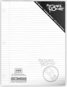 My Chemical Romance notebook paper <3
