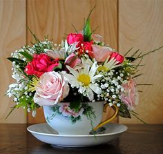 Flowers in a teacup.
