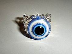 Greek Evil Eye | Greek Evil Eye Hamsa Kabbalah Protector Filligree Ring - Ward off bad ...