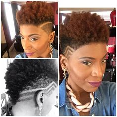 tapered twa long hair in the front shaved sides with design – Neauty ideas Natural Short Cuts, Tapered Natural Hair, Short Hair Cuts, Natural Mohawk, Tapered Afro, Dreads, Curly Hair Styles, Natural Hair Styles, Tapered Haircut