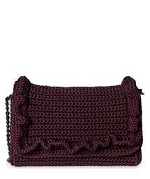 ONE & ONLY Burgundy Passion Crochet Medium Bag < SHOULDER BAGS Crotchet Bags, Knitted Bags, Crochet Handbags, Crochet Purses, Ruffles Bag, Ancient Greek Sandals, New Bag, Medium Bags, Purses And Bags