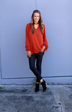 Orange Ruffle - Lex What Wear #fashionblogger #styleblog #nashvillestyle #fallfashion #fallstyle #falloutfit #outfitideas #outfitinspiration #styleideas #blogger #bloggerstyle #fall #nashville #outfit