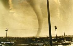 This spectacular picture was taken on April 2, 1957, the day of the Dallas Tornado. The tornado was at that time, the most photographed and filmed tornado in history, giving scientists a great deal of information about the nature of twisters.