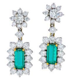 bf8651b2d5a6b2 Retro 8.96 CTW Colombian Emerald Diamond Platinum-Topped 18 Karat Gold Drop  Earrings AGL
