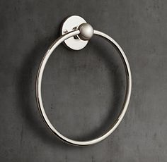 RH's 1900 Classic Towel Ring:Lefroy Brooks world-class collection of English-inspired bath hardware is crafted to the highest standards. Faucets and fittings are built from brass, hand assembled, impeccably hand finished and above all, eminently functional. Taking inspiration from the design aesthetic of the early 20th century, the 1900 Classic collection features exposed components and elegant white or black porcelain accents.