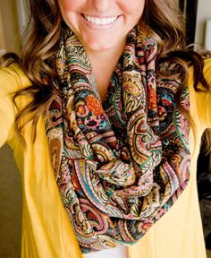 Paisley Infinity Scarf & bright yellow!