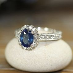 Halo Diamond and Natural Blue Sapphire Ring 14k White Gold Vintage Style Engagement Ring 8x6mm Oval Gem (Other Metals & Stone Available)