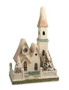 BETHANY LOWE VTG STYLE PUTZ HOUSE CHRISTMAS PAPER CARDBOARD CHURCH PINK PASTEL