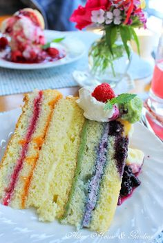 ribbon cake with five different layers of fruit at the Blue Winds Tea Room, New London, Prince Edward Island, Canada