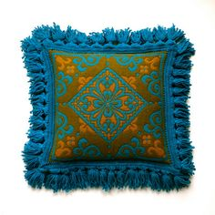 Vintage Italian Wool Damask Pillow Cover  by BarkingSandsVintage