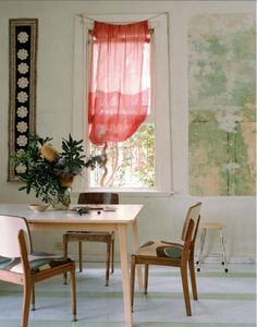 via Bliss. Lovely composition. Wall hanging, red curtain, green wall. gorgeous floor.