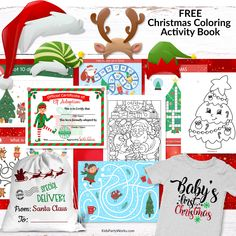 Free Christmas Coloring Activity Book. Filled with 31 pages of fun! Coloring pages, activity sheets, photo both props, Christmas iron-on transfrers including Baby's First Christmas, Elf adoption certificate, Santa sack label,  and lots more! Merry Christmas everyone! KidsPartyWorks.com Printable Activities For Kids, Free Christmas Printables, Christmas Colors, Christmas Fun, Holiday, Photo Both Props, Party Labels, Merry Christmas Everyone, Christmas Coloring Pages