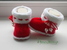 Baby Booties Knitting Pattern, Knitted Booties, Knit Shoes, Crochet Baby Booties, Crochet Slippers, Baby Knitting Patterns, Crochet Santa, Knit Crochet, Knit Baby Dress