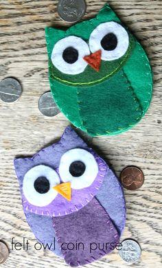 felt owl coin purse with hidden closer--full tutorial AND TEMPLATE!  I love owls!!!