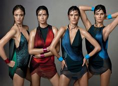 Raquel Zimmermann, Adriana Lima, Alessandra Ambrosio, and Isabeli Fontana, photographed by Steven Meisel, Vogue, June 2014.