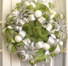 Lime and silver holiday wreath- great modern color combination
