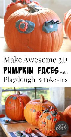 Make easy pumpkin faces with playdough + small poke-in decorations such as beads, pipecleaners, & googly eyes. A great pumpkin decorating activity for kids!