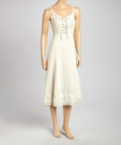 Another great find on #zulily! Beige Lace-Up Bodice Sleeveless Dress #zulilyfinds
