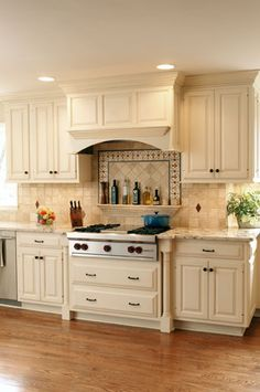 backsplash with mosaic border limestone field tile walker zanger diamond dots and - Kitchen Backsplash Ideas With White Cabinets