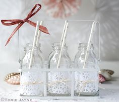 Decorated mini milk bottles for Christmas drinks (Torie Jayne) Christmas Drinks, Christmas Crafts, Christmas Ideas, Simple Christmas, Winter Christmas, Mini Milk Bottles, Glass Bottles, Merry Little Christmas, All Things Christmas