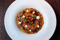 Risotto-style Sardinian fregula pasta with braised cuttlefish