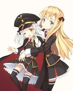 Thea Kruetzer and Wilhelmina Braunschweig Ingenol Friedeburg Anime Military, Japanese School Uniform, Aircraft Carrier, Girl Pictures, Anime Art, High School, Character Design, Artsy, Kawaii